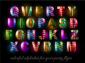 Colorful Alphabet for party flyers — Cтоковый вектор