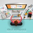 Ideal Workspace for teamwork and brainsotrming — Stock Vector #56910481