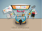 Ideal Workspace for teamwork and brainsotrming — Stock Vector