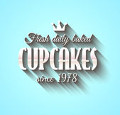 Typography poster Fresh Dalily Baked Cupcakes  — Stockvektor