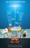 Infographic teamwork and brainstorming — Vetor de Stock