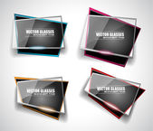 Set of glass Banners with Abstract Shape — Vector de stock