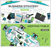 Flat Style Design for business strategy — Stok Vektör