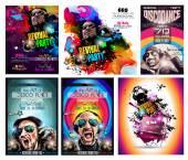Club Disco Flyer Set with DJ shape — Stock Vector
