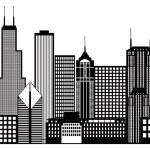 Chicago City Skyline Black and White Illustration — Stock Vector #52636193