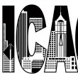 Chicago City Skyline Black and White Text Illustration — Stock Vector #52636197