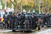 Riot Police on Vehicle to Control Occupy Portland Protest Crowd — Stock Photo