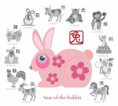 Chinese New Year Rabbit Color with Twelve Zodiacs Vector Illustration — Stock Vector