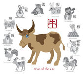 Chinese New Year Ox Color with Twelve Zodiacs Vector Illustration — Stock Vector