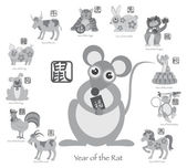 Chinese New Year Rat with Twelve Zodiacs Vector Illustration — Stock Vector