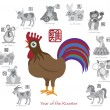 Chinese New Year Rooster Color with Twelve Zodiacs Vector Illustration — Stock Vector #56126885