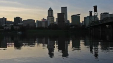 Portland Oregon Downtown City Skyline and Hawthorne Bridge with Water Reflection at Sunset along Willamette River 1080p — Stock Video