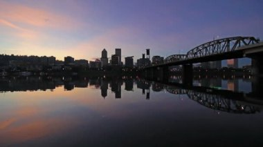 Portland Oregon Downtown City Skyline and Hawthorne Bridge with Water Reflection at Colorful Sunset along Willamette River 1080p — Stock Video