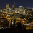 Time Lapse Movie of Fast Moving Traffic with On Rams to Highway 26 and Downtown Portland Oregon Cityscape at Blue Hour Closeup 1080p — Stock Video #57959377
