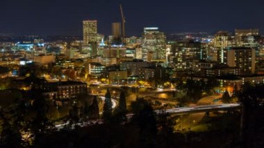 Time Lapse Movie of Fast Moving Traffic with On Rams to Highway 26 and Downtown Portland Oregon Cityscape at Blue Hour Closeup 1080p — Stock Video