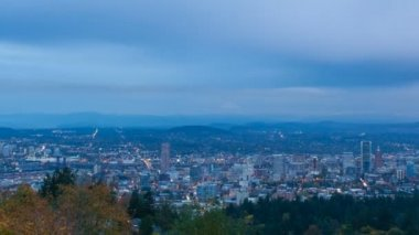 Timelapse Movie of Downtown Portland Oregon Cityscape and Moving Clouds at Blue Hour 1080p — Stock Video