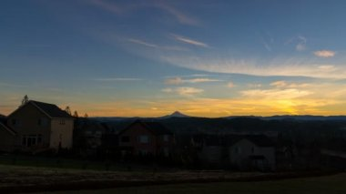 Time Lapse Movie of Beautiful Sunrise in Residential Suburban City of Happy Valley Oregon with Snow Covered Mount Hood One Early Morning 1080p — Stock Video