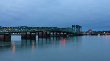Time Lapse Movie of Auto Traffic on Interstate 5 Columbia River Crossing Bridge at Blue Hour with Water Reflection 1080p — Stock Video