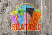 Seattle Abstract Skyline in Circle Wood Background Illustration — ストック写真