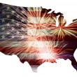 USA Flag in Map Silhouette with Fireworks — Stock Photo #75705653