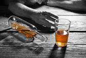 Drunk man with a glass of brandy — Foto Stock