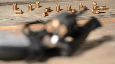 Detail of revolver with cartridge — Stock Video