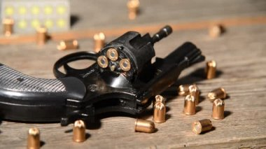 Detail of revolver with cartridges — Stock Video