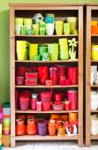 Clay pots in the florist shop — Stock Photo