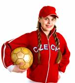 Girl in national jersey of Czech Republic — Stock Photo