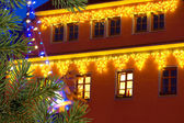 Buildings with christmas decoration — Stock Photo