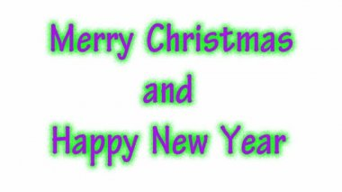 Writing MERRY CHRISTMAS AND HAPPY NEW YEAR on the white background. — Stock Video