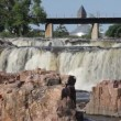 Beautiful falls of Sioux Falls, South Dakota — Stock Video #52210137