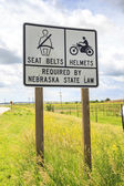 Seat belts and helmets required by Nebraska State Law — Stock Photo