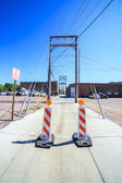 Closed back yard street with electric poles — Stock Photo