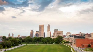 Indianapolis skyline during sunset — Wideo stockowe