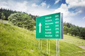 Road sign with major polish cities — Stock Photo