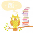 Постер, плакат: Owl and books