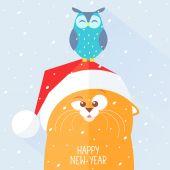Cat new year — Stock Vector