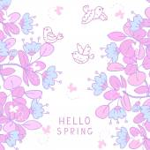 Hello spring flowers — Stock Vector