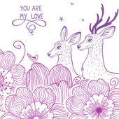 Deer and flower — Stock Vector