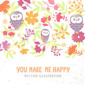 Owls and flowers background — Stock Vector