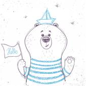 Marinheiro de urso — Vetor de Stock