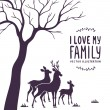 Deer and a tree — Stock Vector #77639576