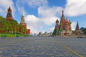 Moscow Kremlin, Red Square and Saint Basil Cathedral — Stock Photo