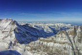 Jungfrau ridge helicopter view in winter — Stock Photo