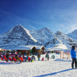 Outdoor lounge on winter sport resort in swiss alps highlands — Stock Photo #56505347