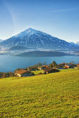 Thun lake village houses view in winter morning  — Stock Photo