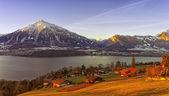 Thun lake view in winter morning sunrise — Stock Photo