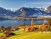 Thun lake region rural view in winter morning  — Stock Photo