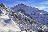 Tschuggen and Jungfrau peaks in winter — Stock Photo